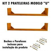 Kit 2 Prateleira em Madeira De Demolição Modelo U medindo 90x15x15