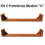 Kit 2 Prateleira em Madeira De Demolição Modelo U medindo 60x15x15