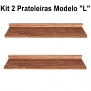 Kit 2 Prateleira Modelo L Madeira De Demolição Livros Fácil Instalação 70x15x5