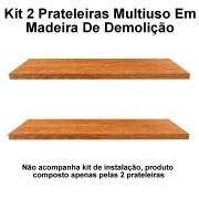 Kit 2 Prateleira Multiuso em Madeira De Demolição medindo 60x10x2