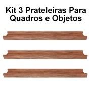 Kit 3 Prateleira em Madeira De Demolição para Quadros medindo 70x10x4