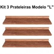 Kit 3 Prateleira Modelo L Madeira De Demolição Livros Fácil Instalação 60x15x5