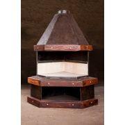 Lareira Pequena de canto medindo 1,30 x 0,70 em chapa naval rústica