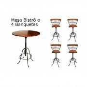 Mesa Bar Banquetas Ferro em Madeira de Demolição