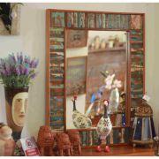 Moldura Para Espelho Ripinhas Em Madeira De Demolição 2,00 x 1,00 - Sem Espelho