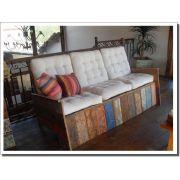Sofá 3 Lugares Sem Futon Medindo 1,60 x 90 x 90 Em Madeira Maciça De Demolição