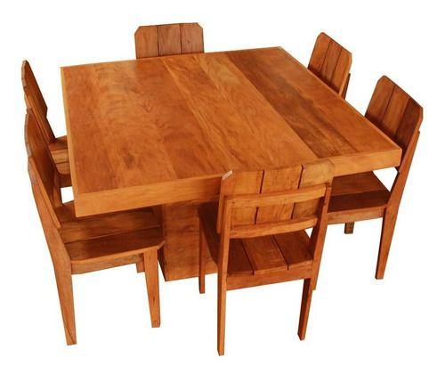 Mesa De Jantar Com 6 Cadeiras Em Madeira De Demolição