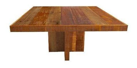 Mesa quadrada em madeira mista de demolição, com pés cruzetas Medida 1,80 x 1,80 x 0,78