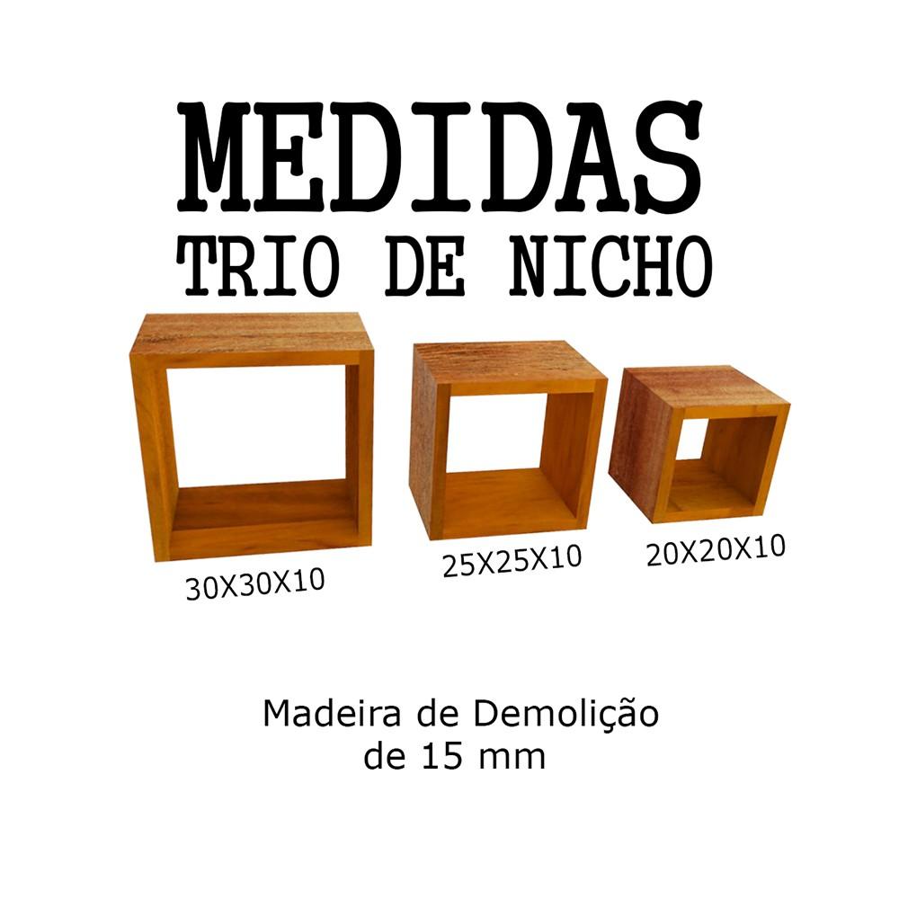 Kit 3 Nichos Madeira De Demolição medidas 30cm, 25cm E 20cm