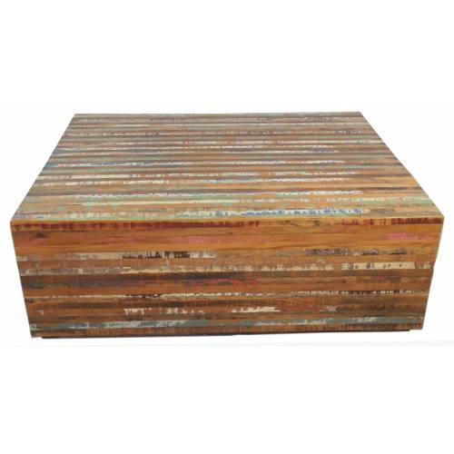 Mesa De Centro Modelo Ripinha Em Madeira De Demolição Medindo 1,00x80x35