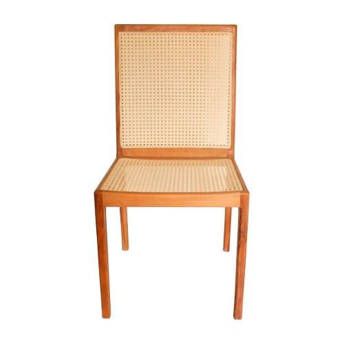 Cadeira De Madeira com Palha Artesanal Em Peroba Rosa De Demolição