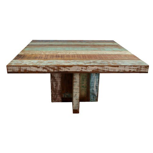Mesa Quadrada em madeira de demolição pés cruzetas Med. 1,50 x1,50x78