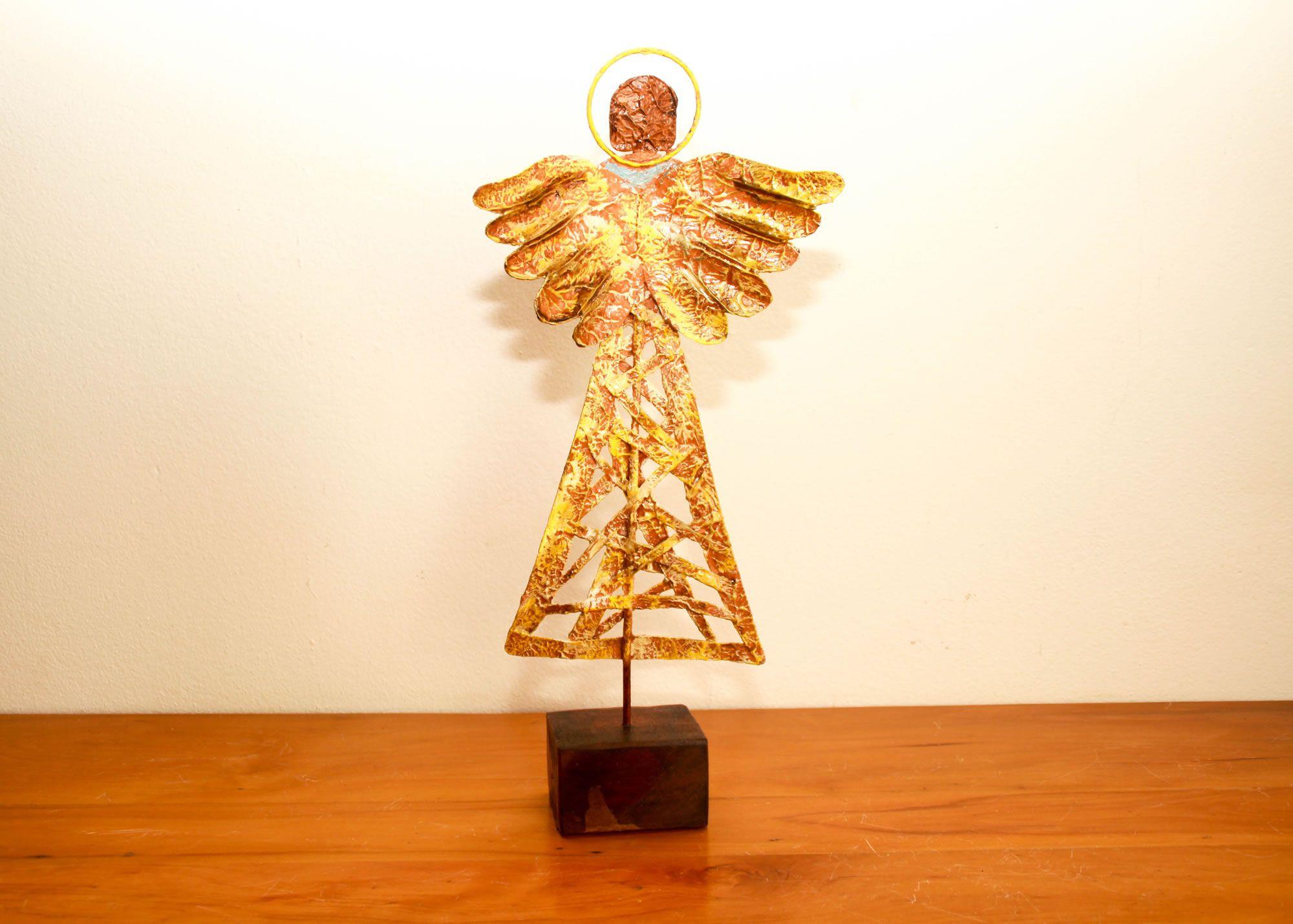 Anjo de lata e Ferro Artesanal Decorativo Frete Gratís