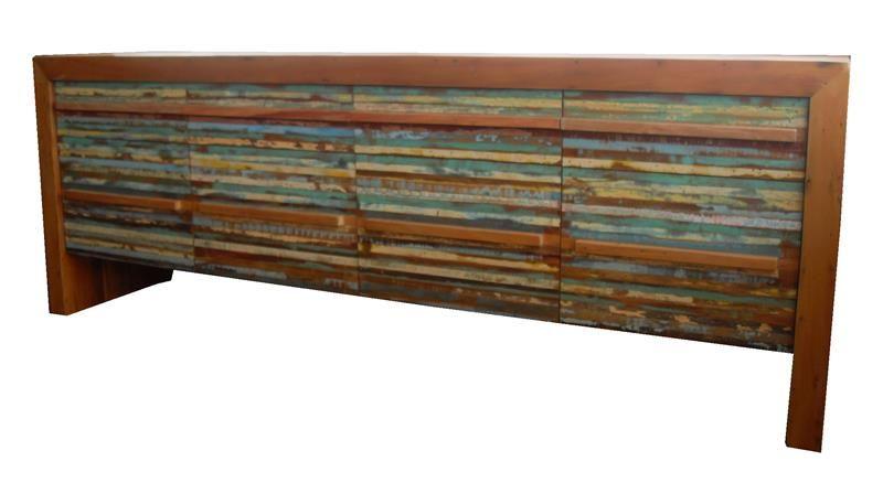 Aparador Buffet 2,20x50x85 Com 4 Gavetas E 4 Portas Ripinhas Em Madeira De Demolição