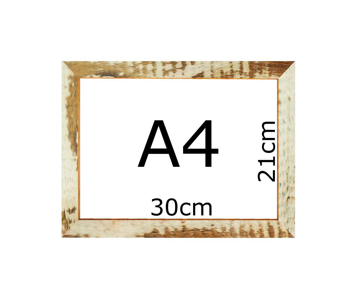 Armação De Quadro Patina Branca Fotos Certificados A4 30x21cm