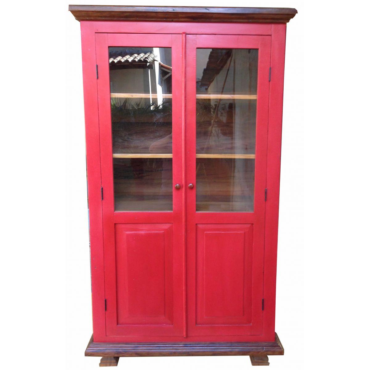 Armário Cristaleira Vermelho Medindo fabricado Em Madeira De Demolição Medindo1,20x40x2,10