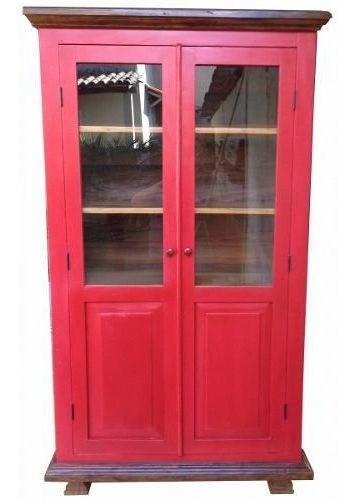 Armário Cristaleira Vermelho 1,20x40x2,10 Madeira Maciça