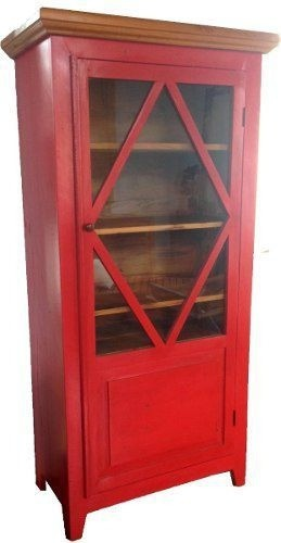 Armário Cristaleira Vermelho Madeira Demolição 1,00x40x1,90