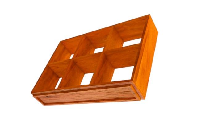Estante Colmeia em madeira de demolição medindo 1,00x70x20