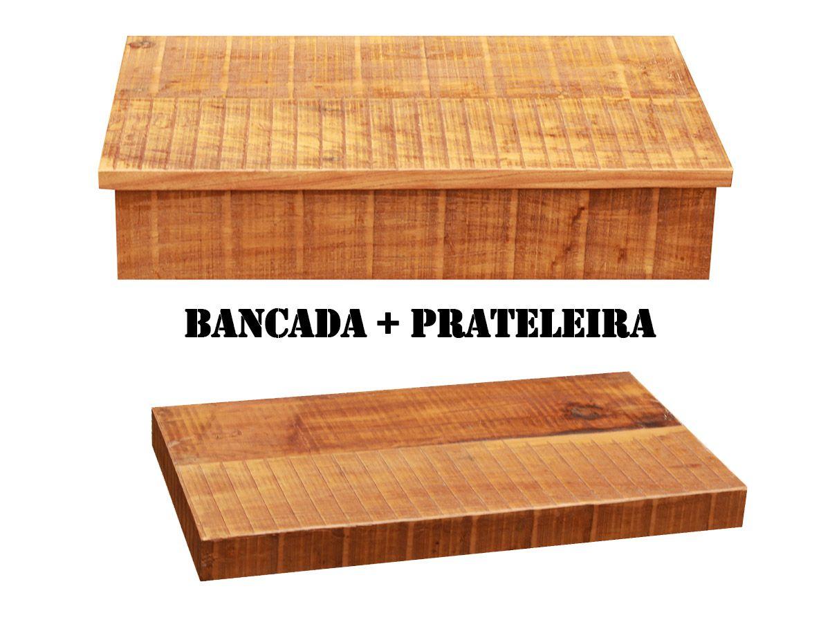 Armário Para Banheiro com Borda + Prateleira Em Madeira De Demolição 50x40cm