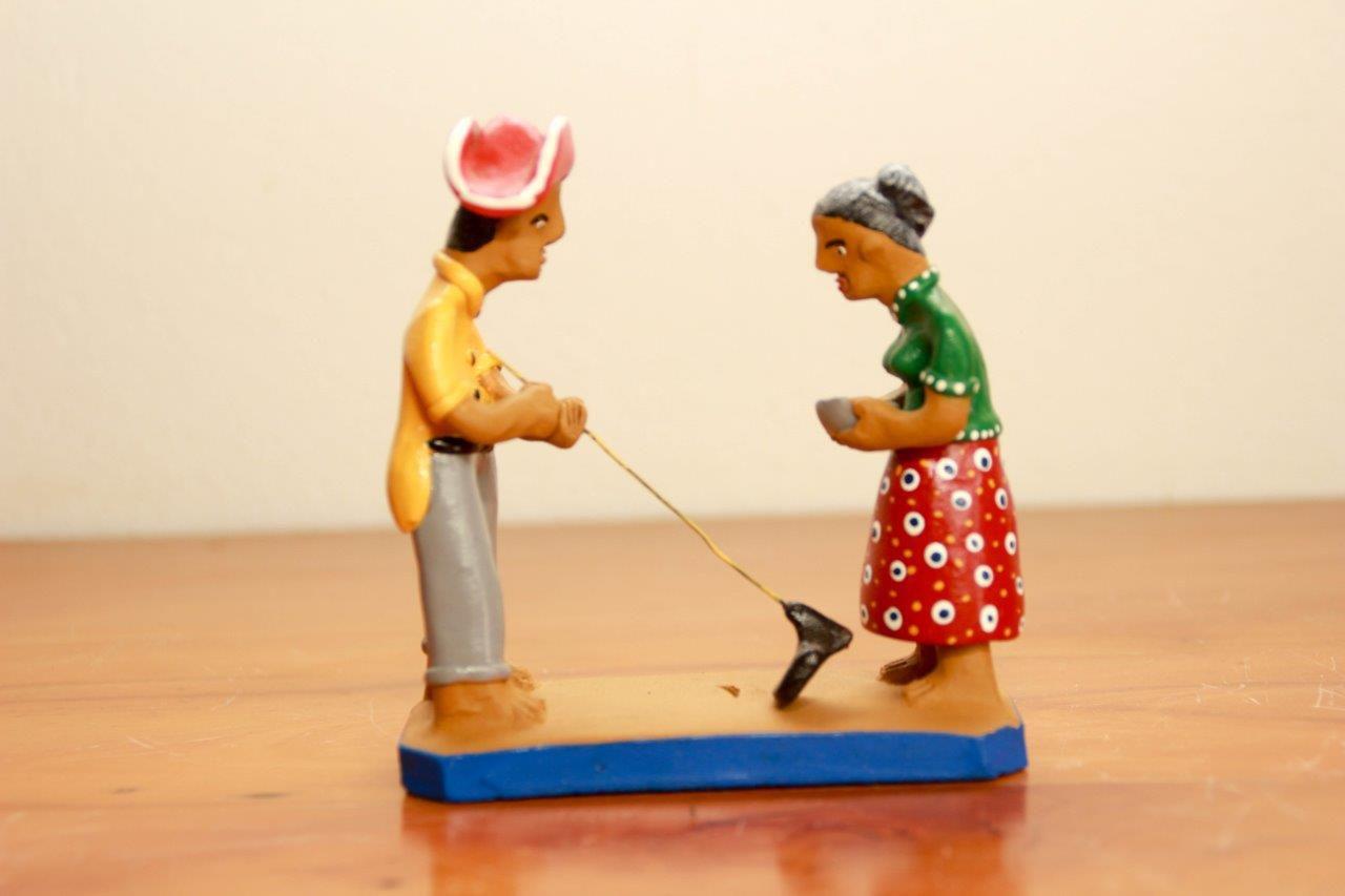 Artesanato Miniatura Casal Lavrador Decorativo Frete Grátis