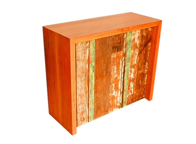 Balcão Apoio Colorido com 1,60x40x1,05 Madeira de Demolição