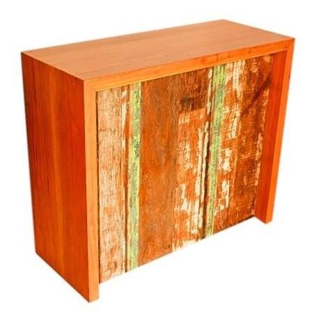 Balcão Apoio Colorido Com 1,60x40x105 Madeira De Demolição