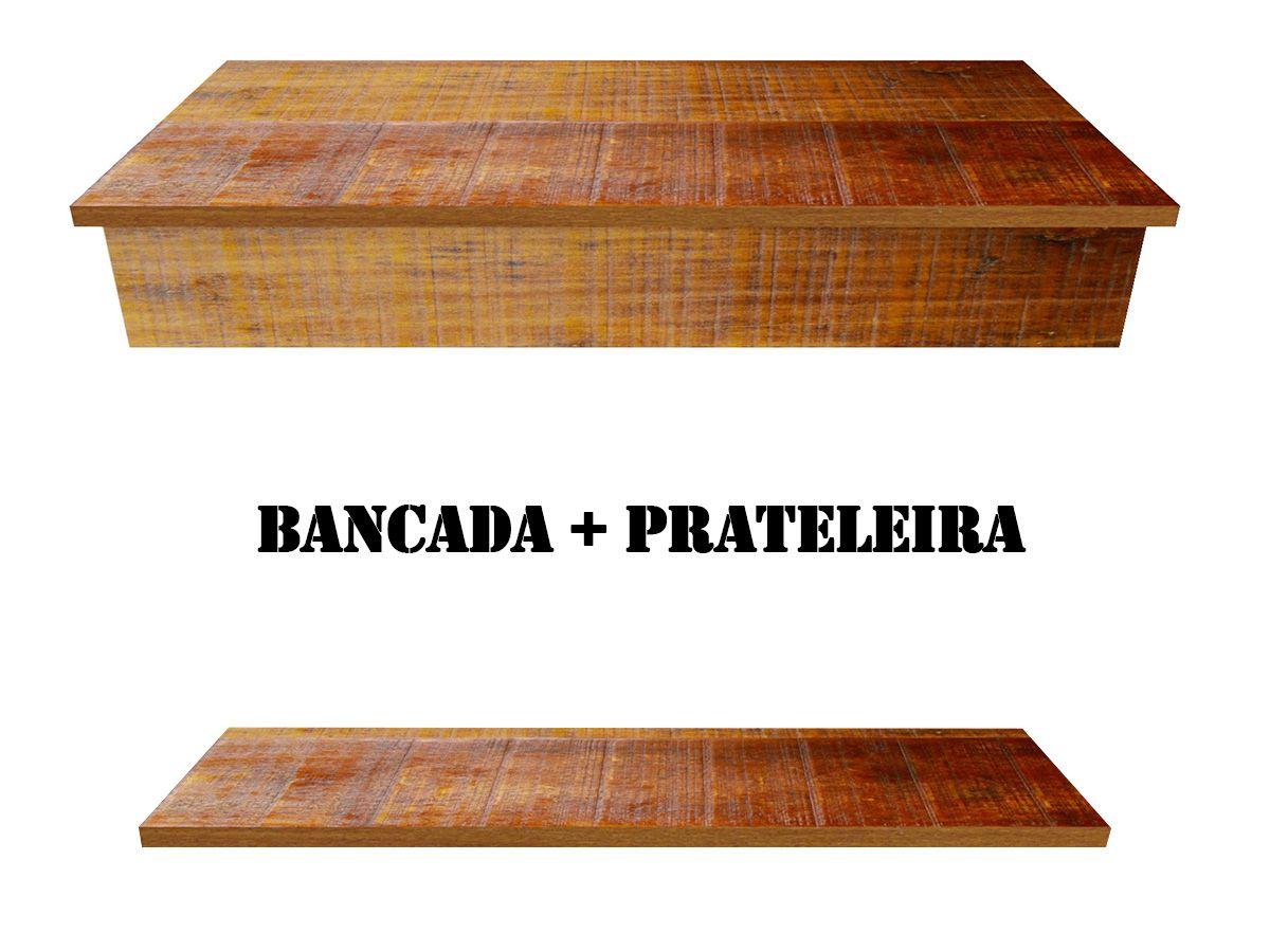 Bancada Com Borda Para Lavabo + Prateleira Em Madeira De Demolição 100x40cm