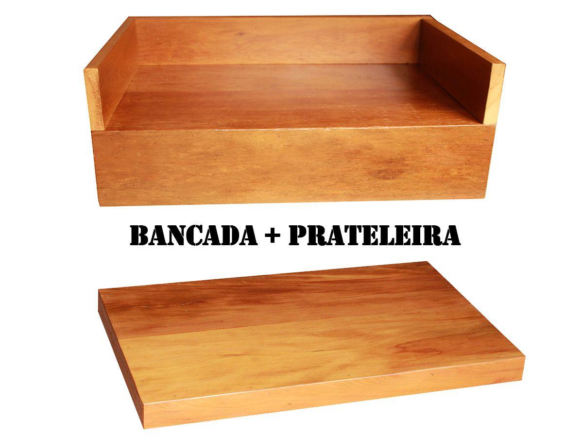 Bancada de Banheiro + Prateleira em Madeira De Demolição 70x40