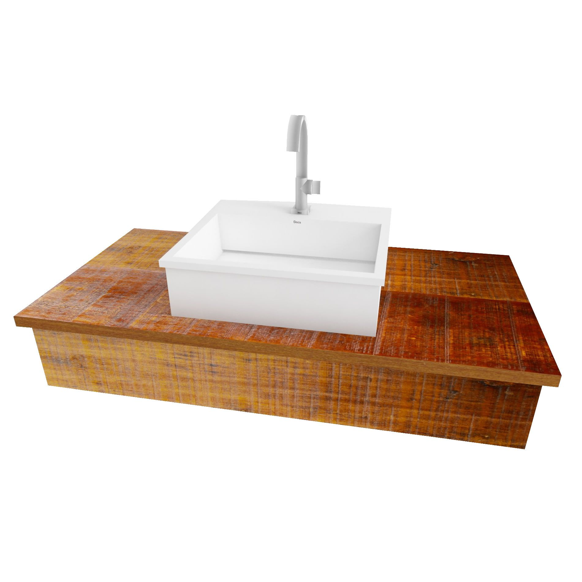 Bancada Em Madeira De Demolição Para Banheiro Medindo 50x40 - Fabricamos Sob Medida!!