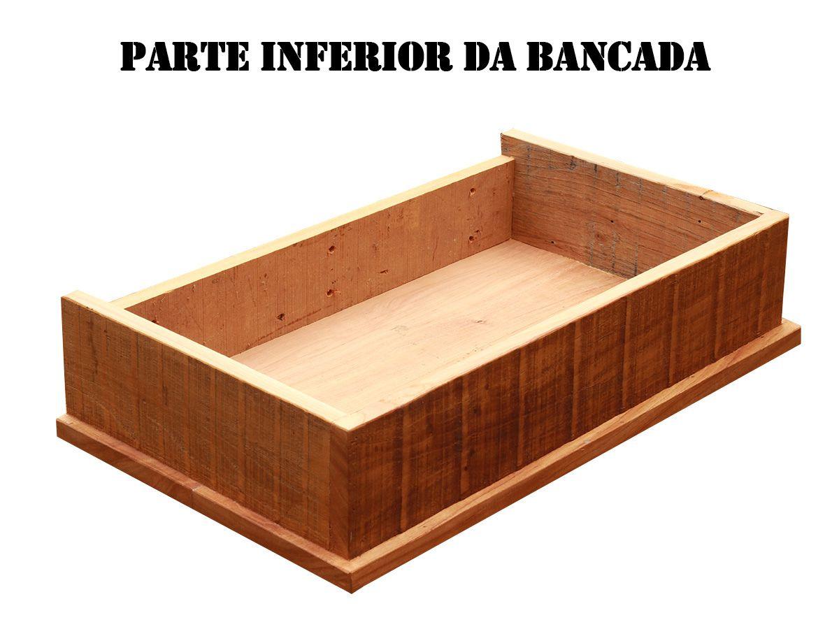 Bancada para Lavabo em Madeira de Demolição medindo 50x40