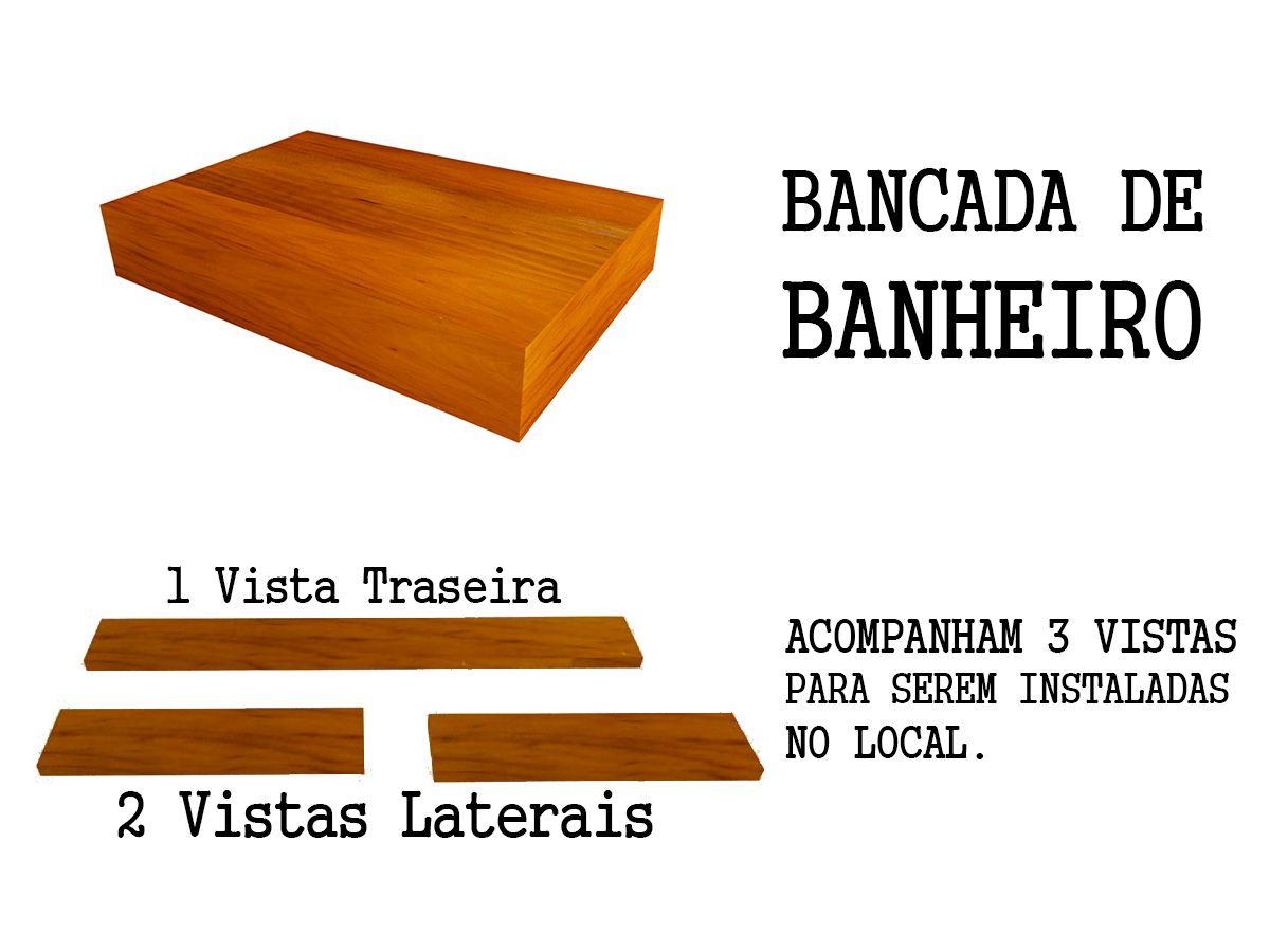 Bancada Para Lavabo + Prateleira Em Madeira De Demolição 90x40cm