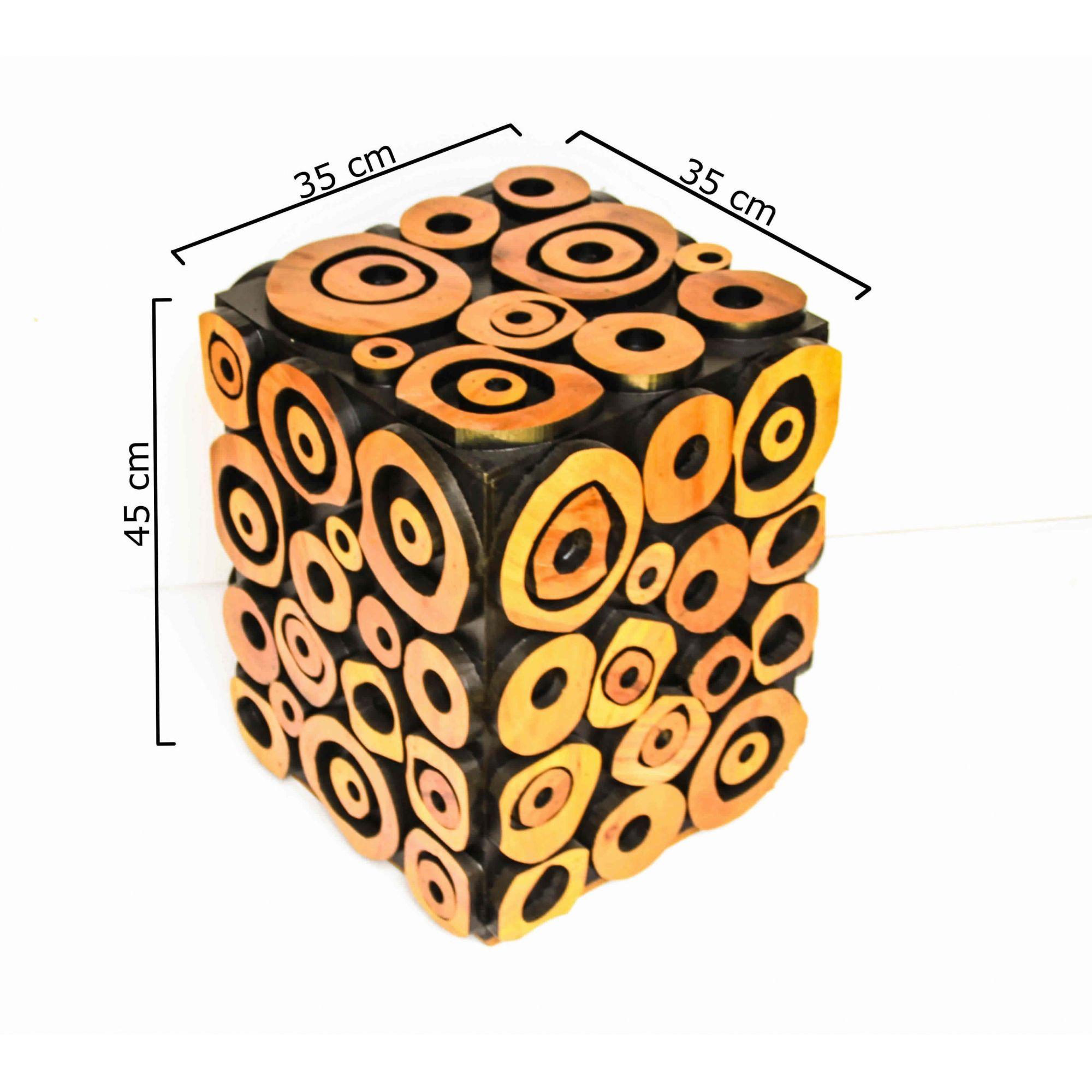 Banco Banqueta Bola Em Madeira De Demolição 35x35x45