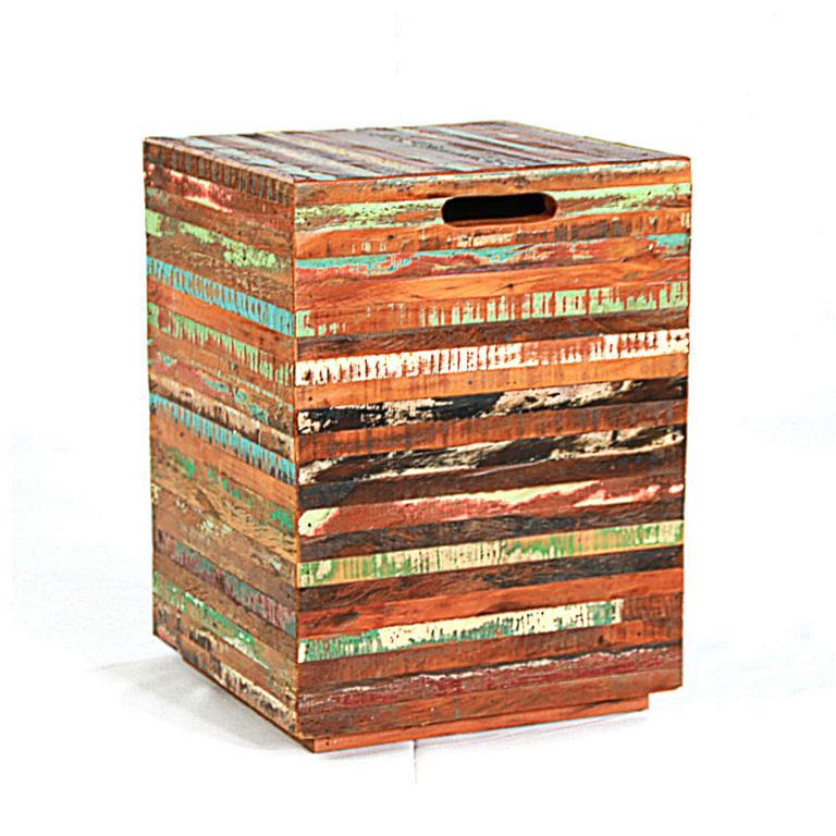 Banco Banqueta Ripinha Colorida Em Madeira De Demolição Medindo 35x35x45