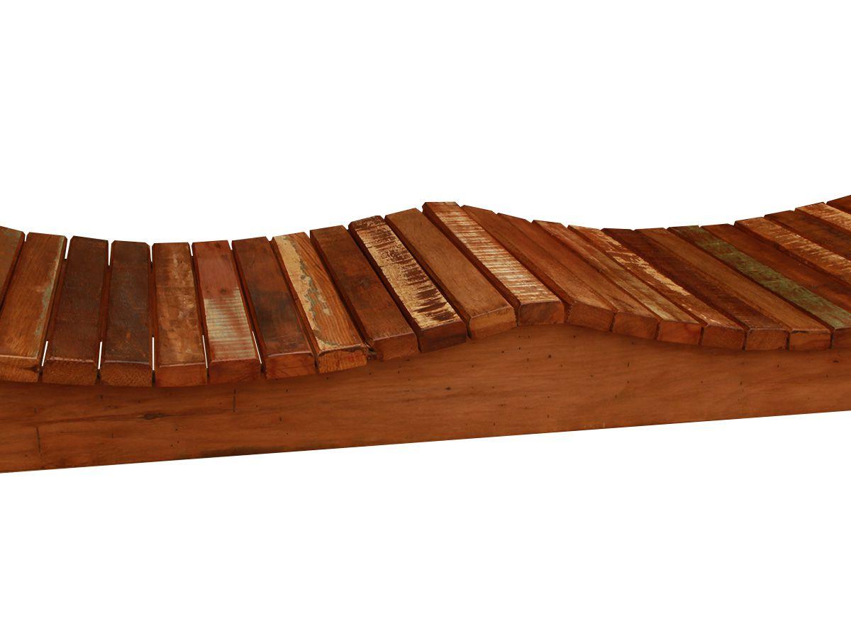 Banco Rústico De Madeira De Demolição Modelo Onda 1,00x40x45