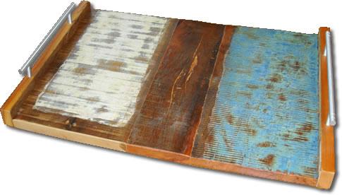 Bandeja Em Madeira Maciça De Demolição com Alça De Metal Medindo 46x32x4