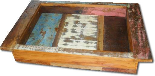 Bandeja Reta Decorativa Em Madeira Maciça De Demolição medindo 46x32x9