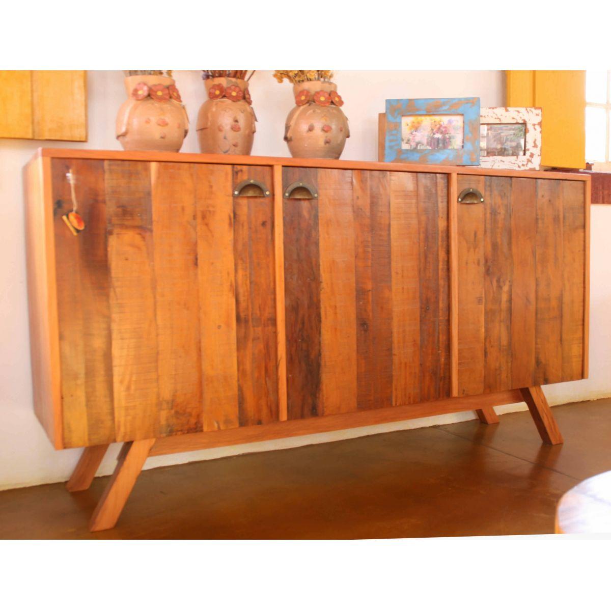 Buffet 3 Portas Ripada Medindo 1,60x40x85 Em Madeira De Demolição