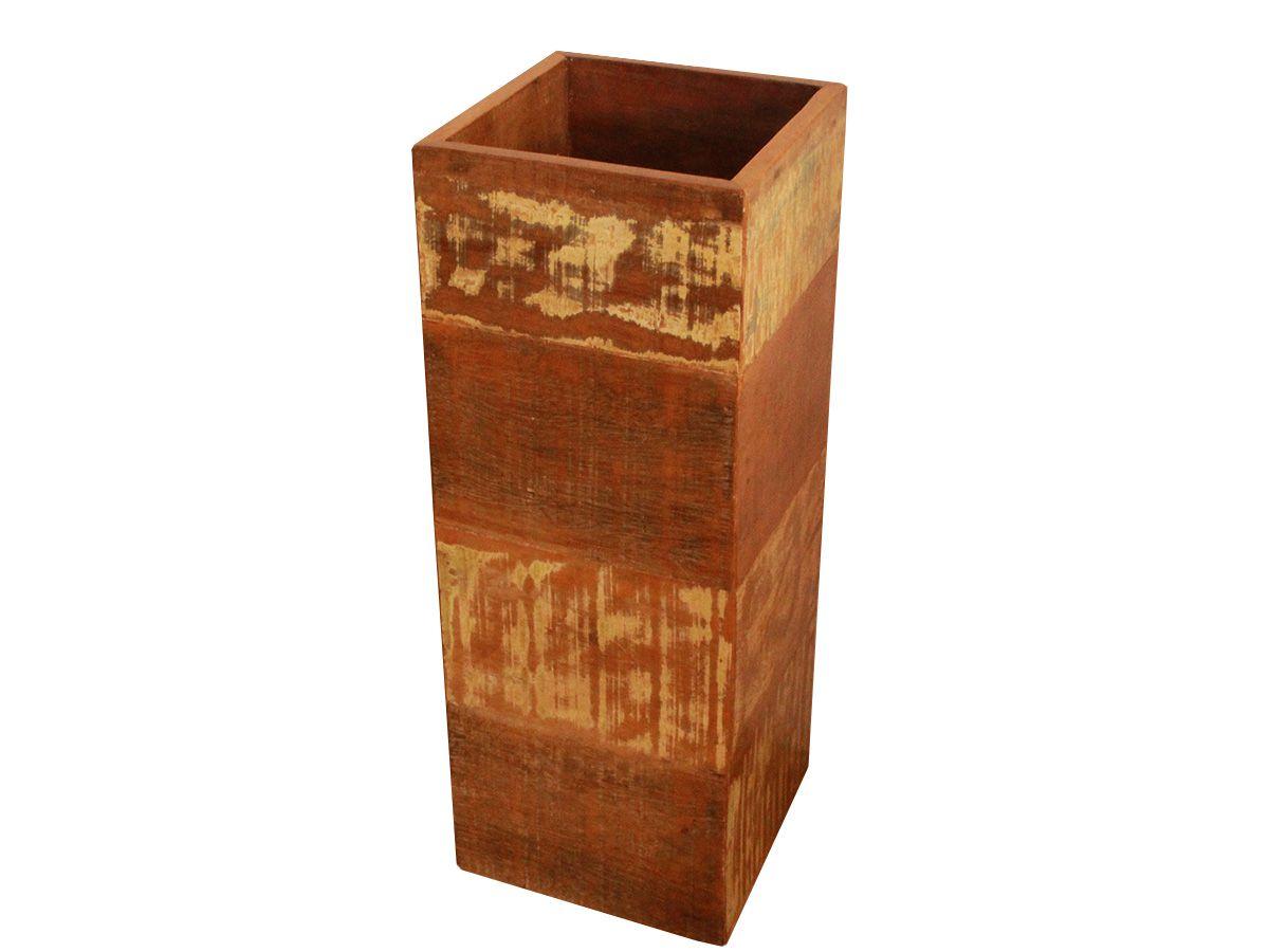 Cachepot Coluna Porta Plantas Decorativo Em Madeira De Demolição  Medindo 30x30x70
