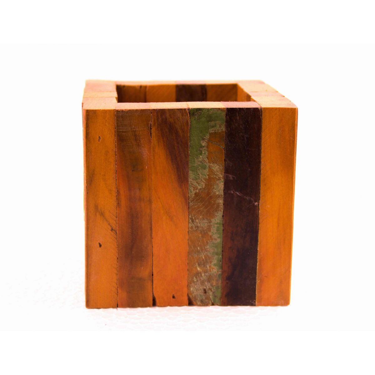 Cachepot De Madeira Rústica E Mini Vaso Para Pequenos Arranjos medida 10x10