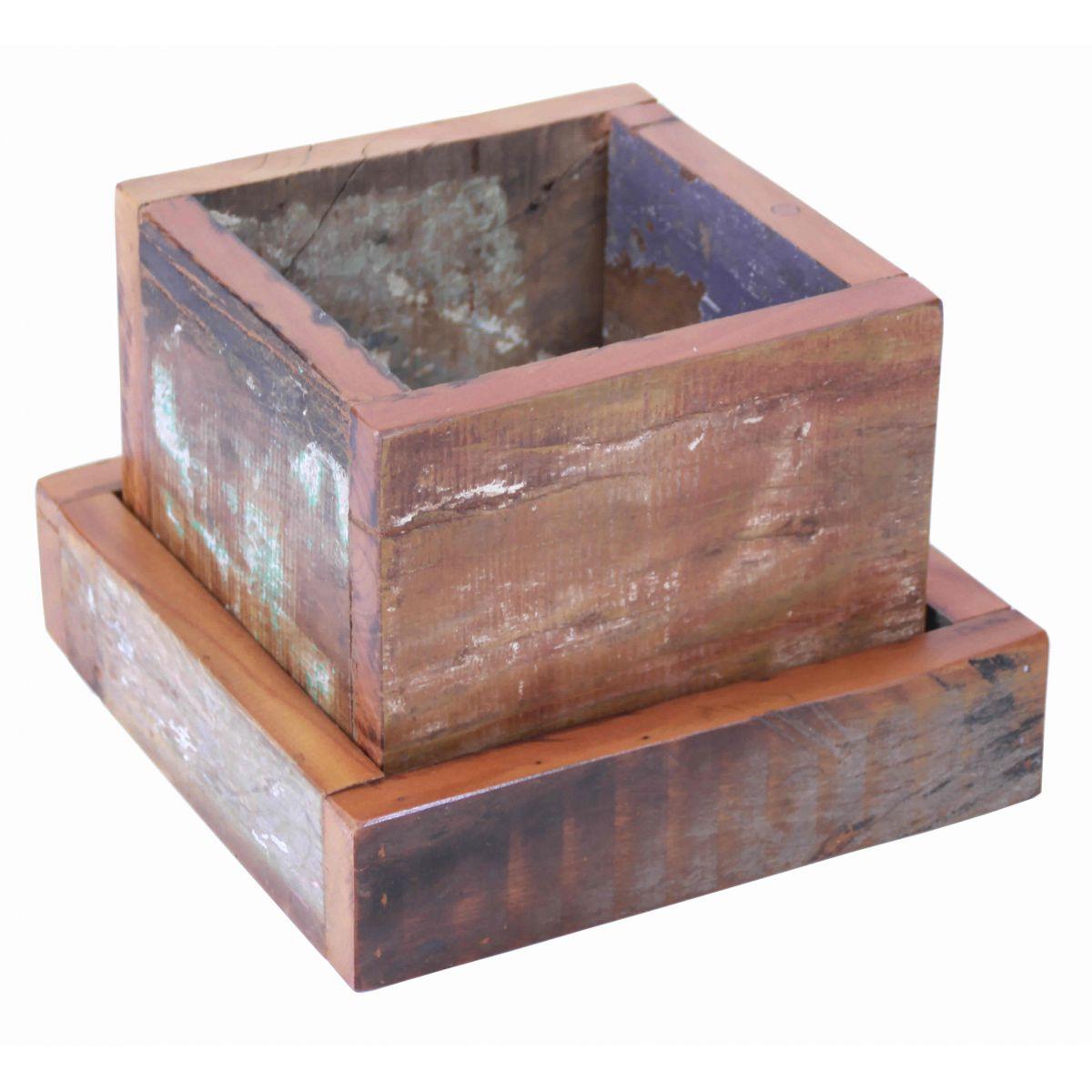 > Cachepot Porta Planta Decorativo Em Madeira Maciça de Demolição #90563B 1200x1200