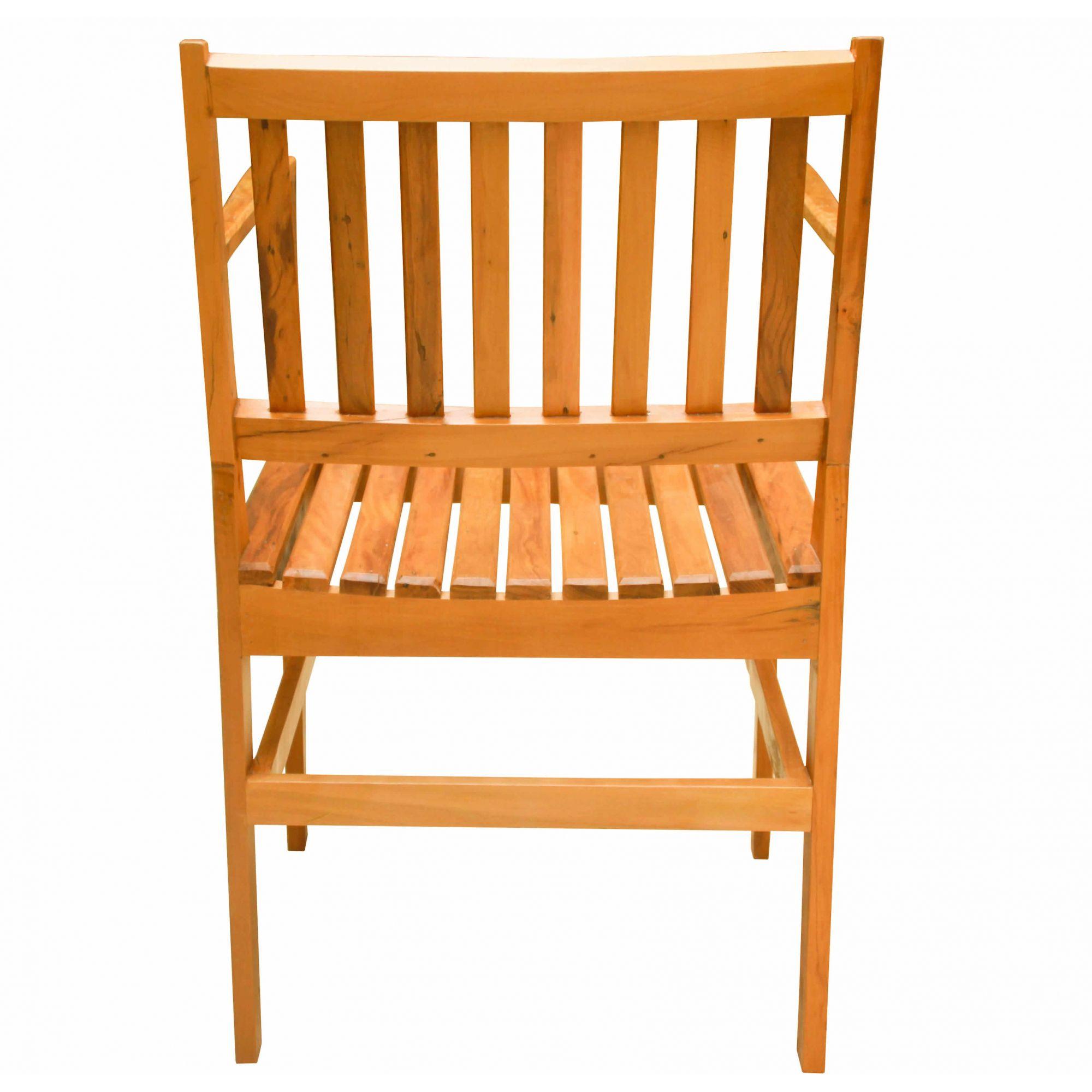 Cadeira com Braço Em Madeira de Demolição Peroba Rosa medidas 50x50x85