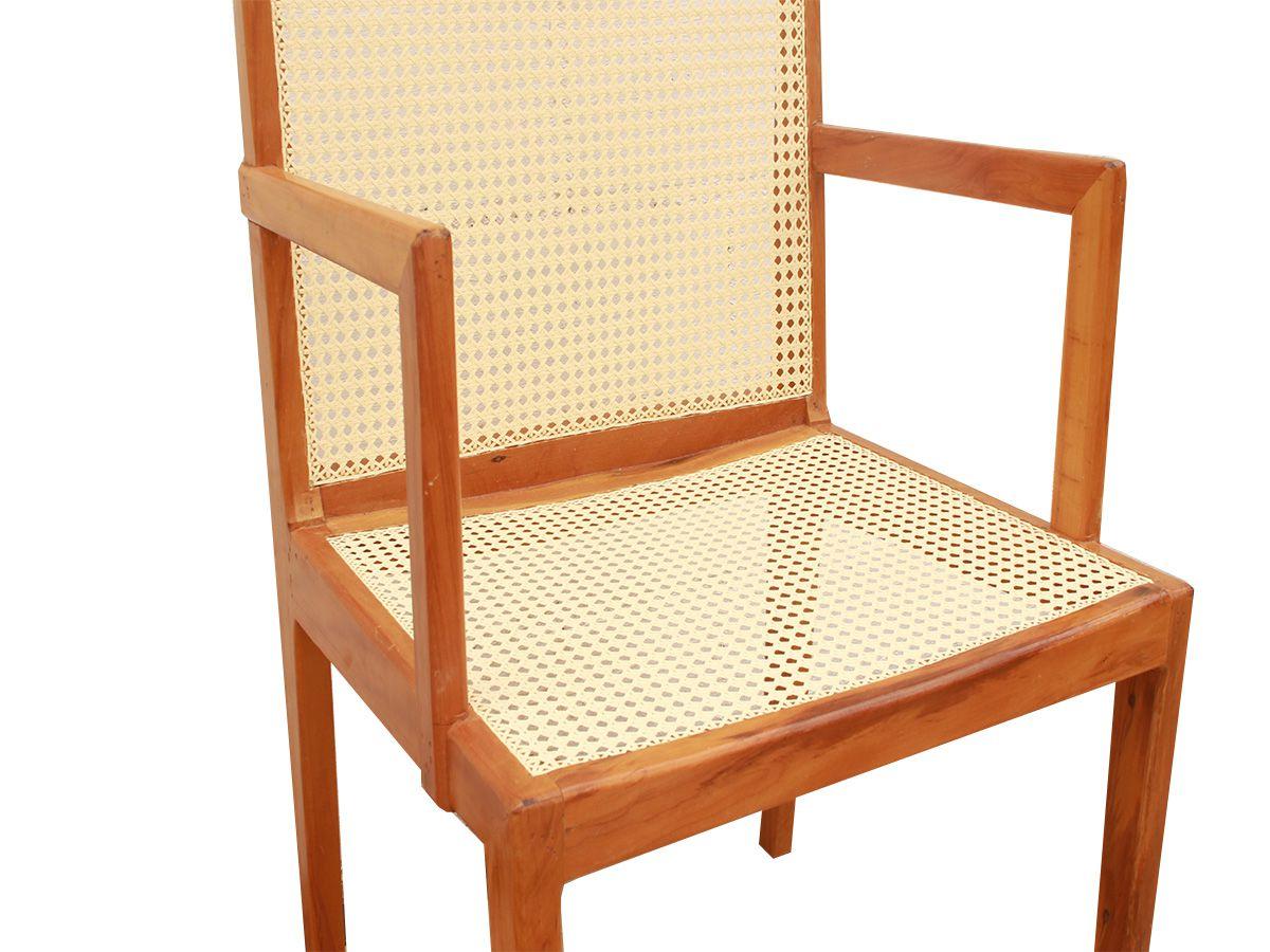 Cadeira De Madeira com Braço Fabricada com Palha Artesanal e em Peroba Rosa De Demolição