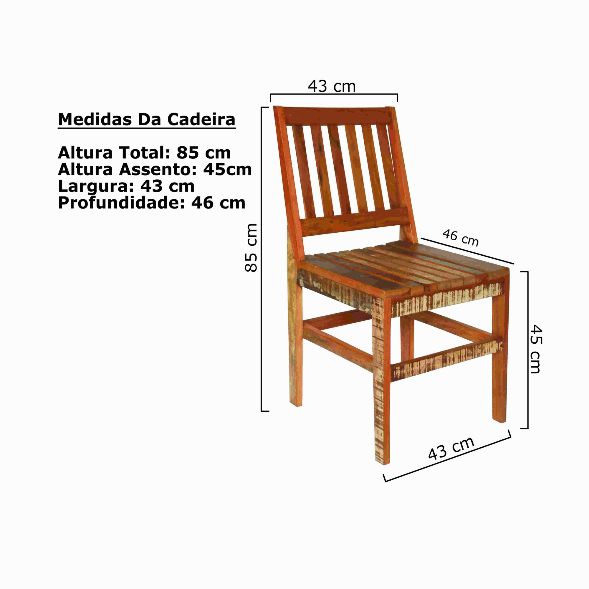 Cadeira Natural Curva sem Braço Em Madeira Demoliçao
