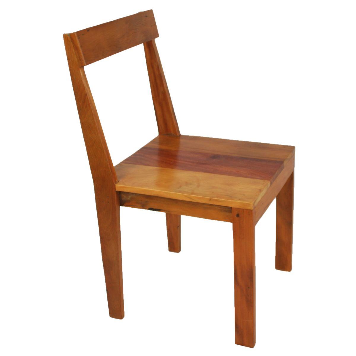 Cadeira Reta Natural Em Madeira De Demolição Medindo 0,40 x 0,40