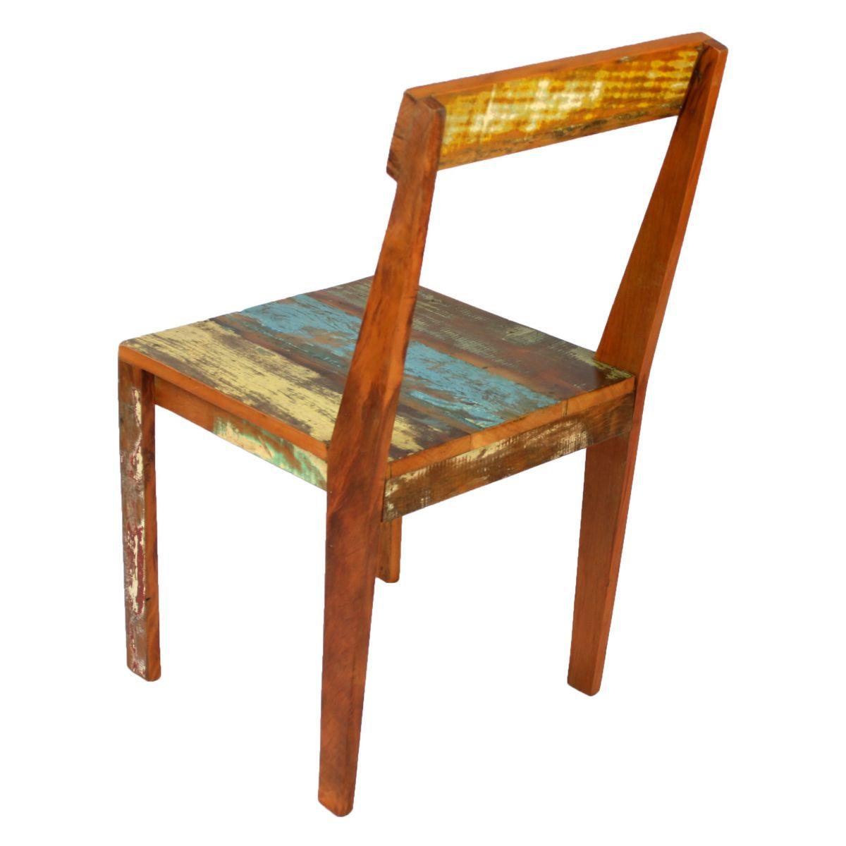 Cadeira Reta Colorida Medindo 0,40 x 0,40 Em Madeira Maciça De Demolição