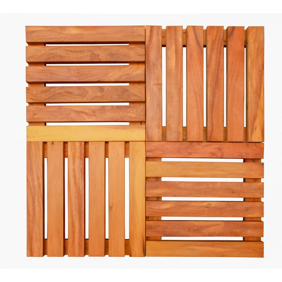 Deck Em Madeira De Demolição Placas Modulares Madeira Maciça 30x30cm