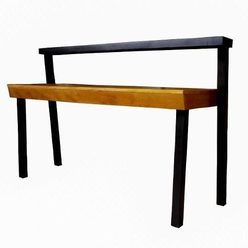 Escrivaninha Em Madeira De Demolição Pés Pretos 1,20x50x75