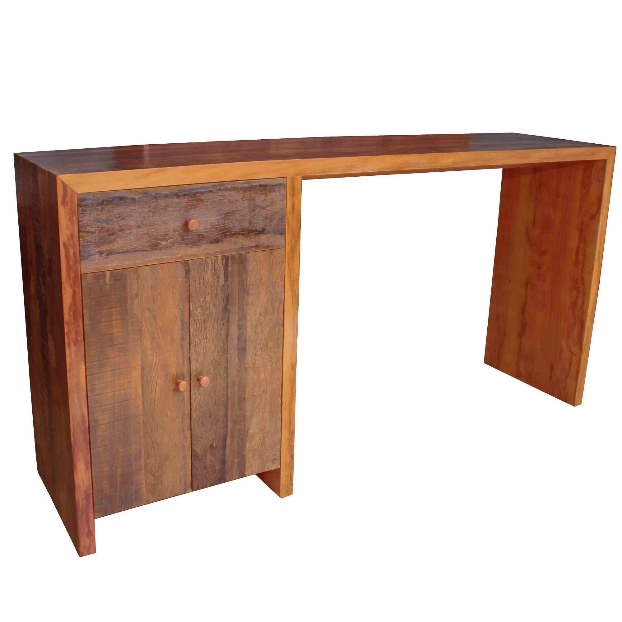 Escrivaninha em madeira de demolição rústica 1,20x50x75