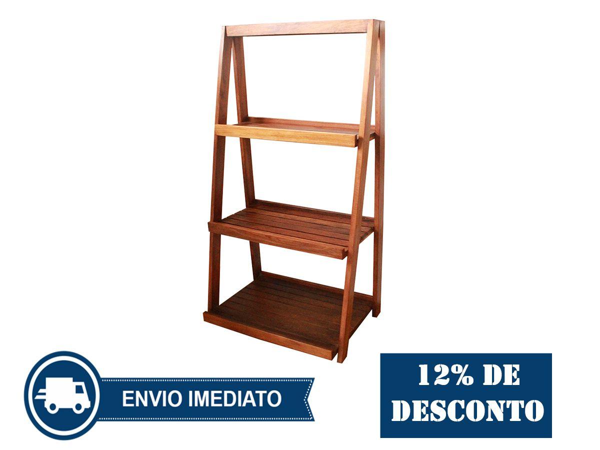 Estante Cavalete Ripada Fabricada Em Madeira De Demolição 0,70(C) x 0,50(L) x 1,70 (A)